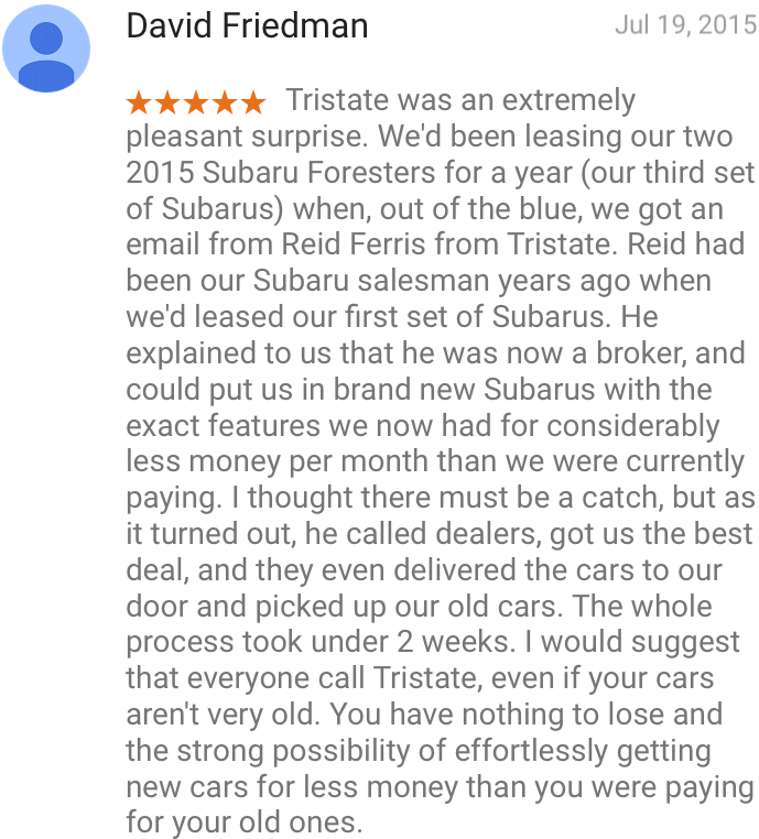 David Friedman Google Review, Friedman Tristate auto chamops 5 star review